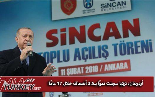 أردوغان: تركيا سجلت نموًا بـ3.5 أضعاف خلال 17 عامًا